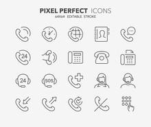Phone Calls Thin Line Icons