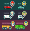 Vector city service infographics in flat style. Urban municipal transport with different professions men icons.