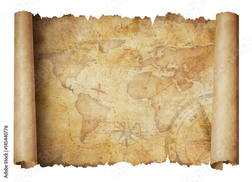 old-world-scroll-map-isolated-3d