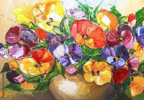 Plakat kwiaty olejne, malujące żywe kwiaty