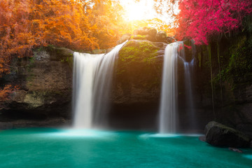 Panel SzklanyAmazing beautiful waterfalls in autumn forest
