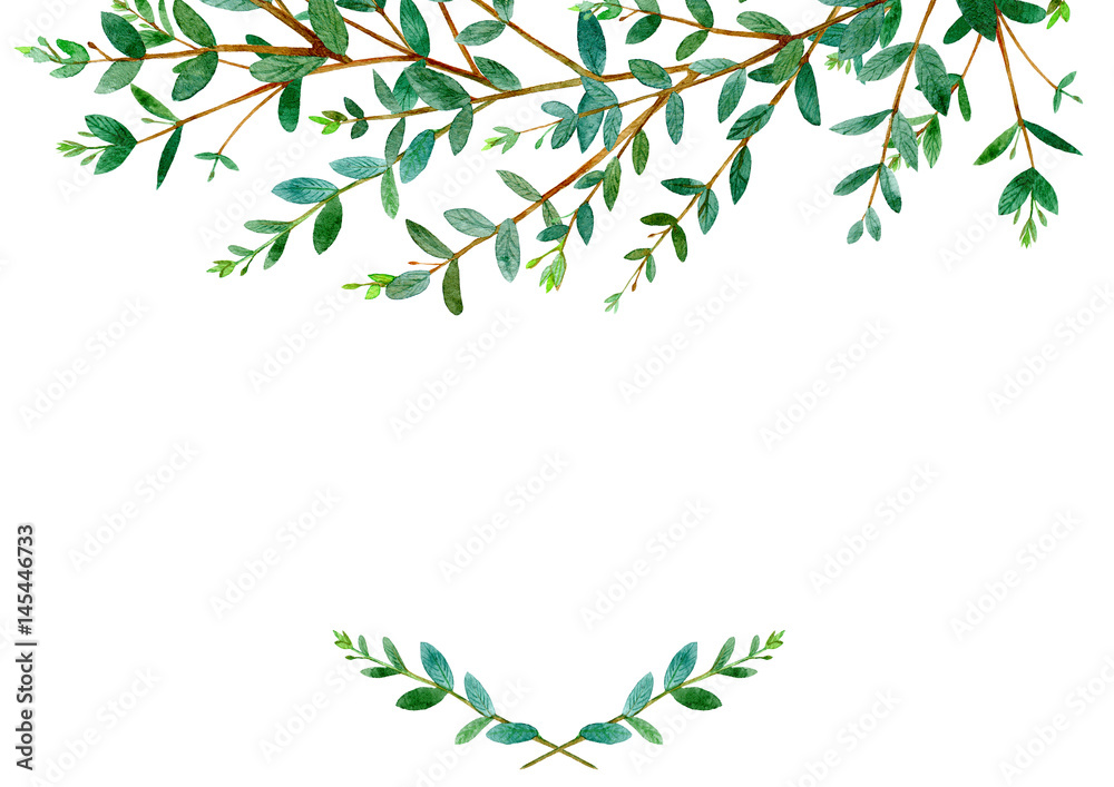 Fototapeta Floral border .Garland of a eucalyptus branches.Frame of a herbs.Watercolor hand drawn illustration.It can be used for greeting cards, posters, wedding cards.