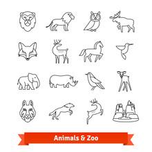 Zoo Animals And Birds. Thin Line Art Icons Set