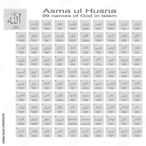 Photo set of monochrome icons with 99 names of god in islam for your design