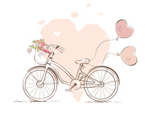 Bicycle For The Bride / Vector Illustration, Wedding Invitation, Valentine Card