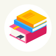 Colorful Stack Of Three Books, Isometric.vector Illustration Isolated On White Background. Icon Books In Flat Style.