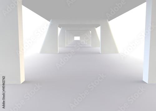 Fototapeta Abstract futuristic white bridge. 3D rendering