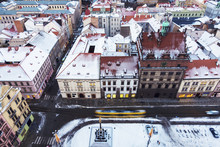 Old Town Hall On Republic Square In Pilsen - Aerial View