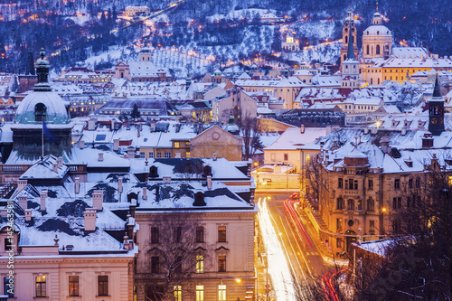 Photo  Winter in Prague - city panorama with St. Nicholas Church