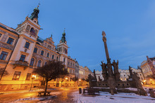 City Hall And Plague Column On Pernstynske Square In Pardubice
