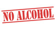 NO ALCOHOL red stamp text on white
