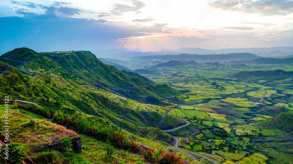 Panorama of Semien mountains and valley around Lalibela, Ethiopia