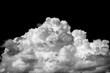 Leinwandbild Motiv Close-up cumulus cloud isolated on black background