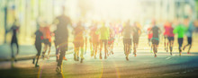 Colorful Silhouettes Of People Running In The City