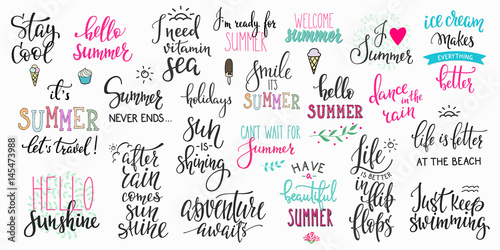 Spoed Foto op Canvas Positive Typography Hello summer lettering typography big set