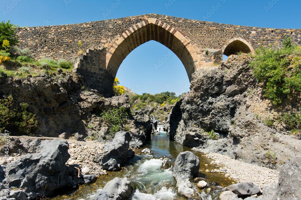 Fényképezés  Medieval bridge of Adrano, Sicily, of arabic origin and saracen