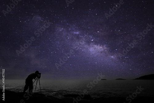 Wall Murals Magenta Photographer doing photography nightscape with milky way galaxy.