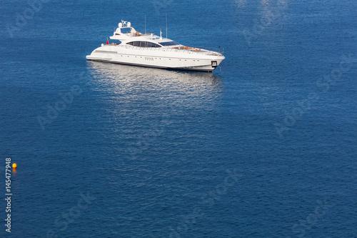 Modern white yacht at the sea Canvas Print