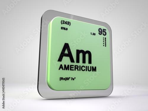 Photo americium - Am - chemical element periodic table 3d illustration