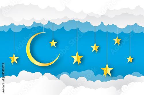 Montage in der Fensternische Himmel Sky paper art. Origami crescent moon, cloud and stars. Vector