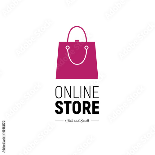 5ac4a5ee45 Modern web banner Online Store with fashionable handbag. Concept online  shopping