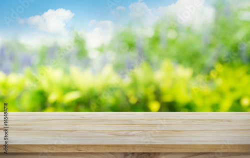 Wood Table Top On Blur Tree,garden In Morning Background .summer,nature  Concept