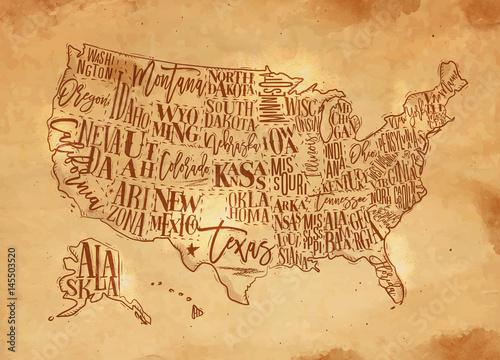 Obraz na płótnie stara mapa USA
