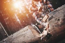 Close-up, Lumberjack Cuts A Bi...