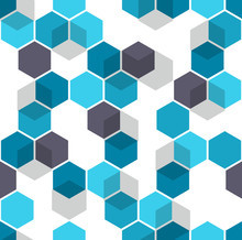 Honeycomb Vector Background. Seamless Pattern With Colored Hexagons And Cubes. Geometric Texture, Ornament Of Blue, White And Black Color For Medical Presentation Backdrop.