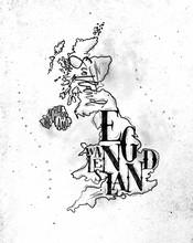 Map United Kingdom Vintage