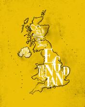 Map United Kingdom Vintage Yel...