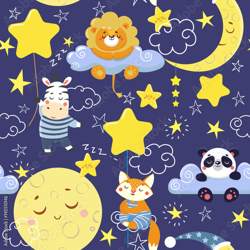 Cotton fabric Seamless pattern with cute sleeping animals and moons, stars. Vector illustration