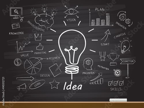 Photo  Chalk hand drawing with light bulb. Vector illustration.