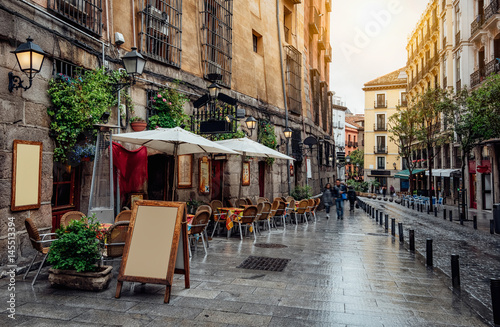 Old cozy street in Madrid. Spain