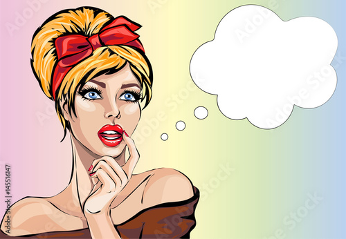 Staande foto Pop Art Pin up style sexy dreaming woman portrait with speech bubble, pop art girl looking up face, vector