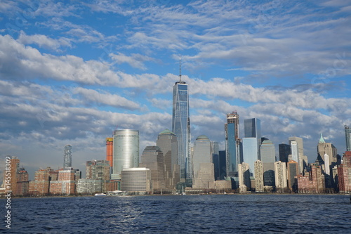 New York City downtown skyline with Freedom Tower as seen from Jersey City April Poster