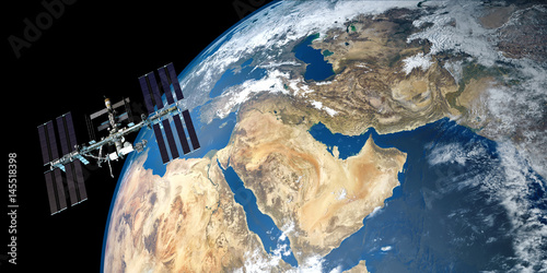 Fotografía  Extremely detailed and realistic high resolution 3D image of ISS - international space station orbiting Earth