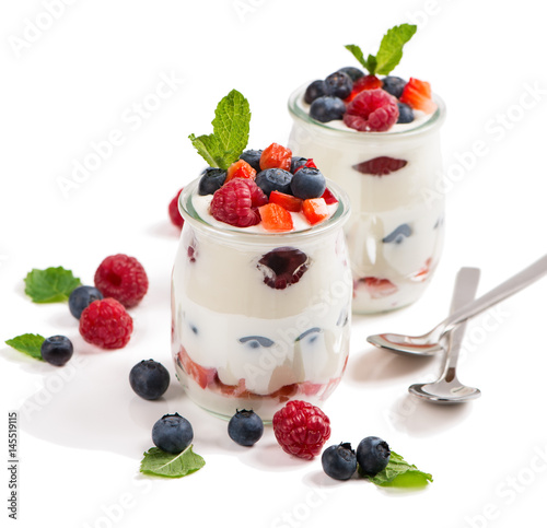 Dessert of yogurt with berries