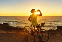 Athlete Cyclist Man Drinking W...