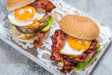 Bacon Burger With Egg Lettuce ...