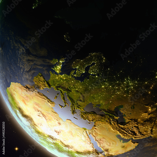 Foto op Aluminium Draken Europe from space during dusk
