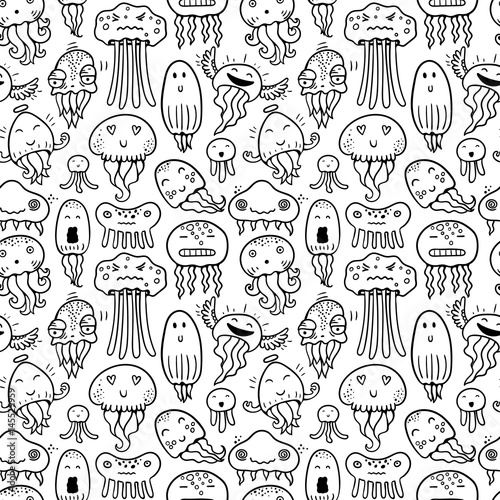 Aufkleber - Seamless vector pattern with jellyfish