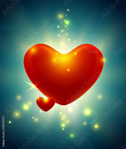 Valentine S Day Card With Beautiful Glow Bright Lights And