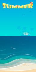 Fototapeta na wymiar Summer background, vector illustration of the evening beach at s