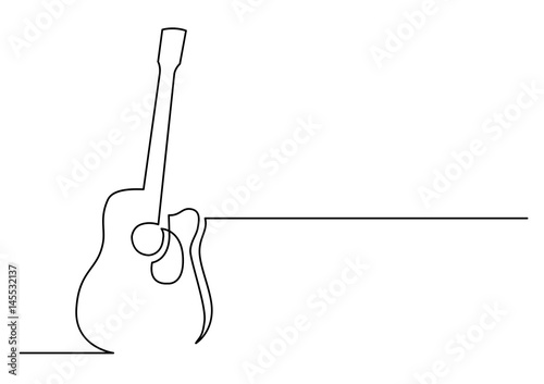 Fototapeta continuous line drawing of acoustic guitar