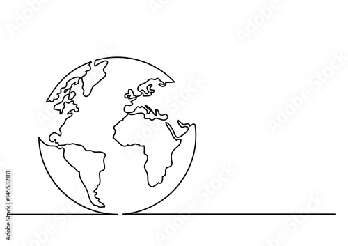 Fototapeta continuous line drawing of globe obraz