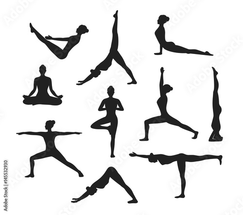 Yoga Workout Silhouettes Of A Woman In Tree Sirsasana Boat Warrior One
