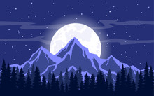 Moon, Moonlight, Rocky Mountai...