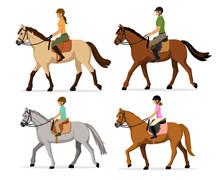 Man, Woman, Boy, Girl Riding H...