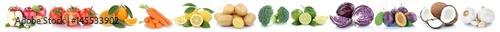 Obst und Gemüse Früchte Äpfel, Orangen Essen Freisteller in einer Reihe © Markus Mainka